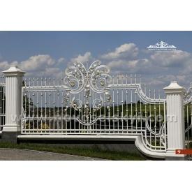 Кованая ограда прямая открытая цвета слоновой кости А2109
