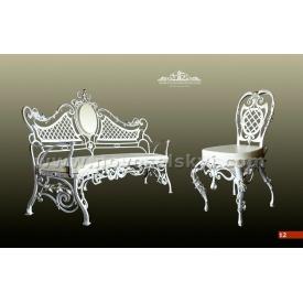 Кованая скамейка со спинкой цвета слоновой кости А7112