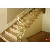 Кованое ограждение лестницы интерьерное цвета слоновой кости А4004