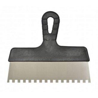 Шпатель нержавейка пластм.ручка 200мм, зуб 6х6 мм, ВИСТ 05-443