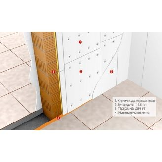 Ефективна звукоізоляція для стін і стелі TECSOUND GIPS FT 1200х1000х35,5мм