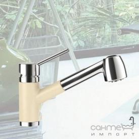 Смеситель для кухни с выдвижной лейкой Schock Pila 541120 эмаль в цвете Cristalite 58 sabbia