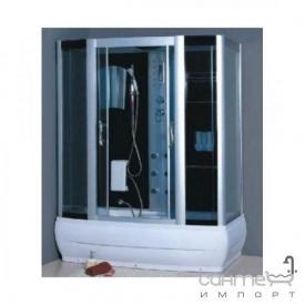 Гідромасажний бокс Atlantis AKL 1107M 170х85х220 профіль хром, задні скла білі, скла дверей тоновані сині