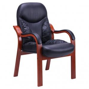 Кресло AMF Буффало CF коньяк кожа Люкс комбинированная черная