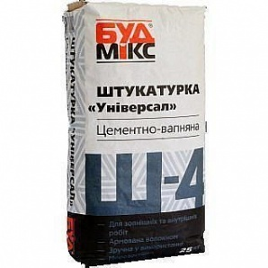 Штукатурка цементно- известковая БудМикс Ш-4 Машинная 25 кг