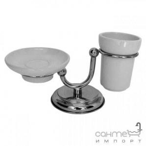 Мильниця і склянку на підставці Pacini & Saccardi Oggetti Appoggio 30122/CO хром/золото