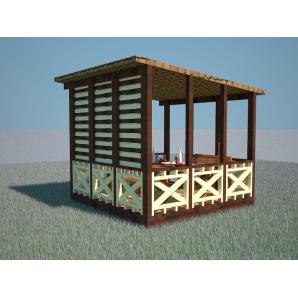 Альтанка дерев'яна напівкрита 3,1х3,1 м