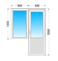 Балконний Блок VEKA EUROLINE з двокамерним енергозберігаючим склопакетом, 800х1300,650х2000 мм