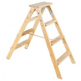Двостороння дерев'яна драбина Virastar Hobby 2х4 ступенів
