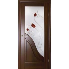 Двері міжкімнатні Амата Новий Стиль каштан делюкс зі склом Р1