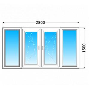 Лоджія OPEN TECK Elit 70 з двокамерним енергозберігаючим склопакетом 2800x1500 мм