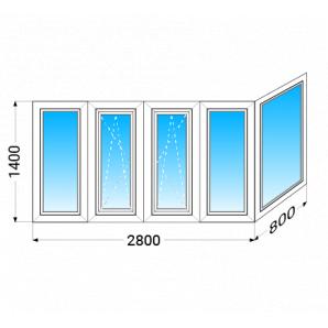 Балкон г-подібний OPEN TECK De-lux 60 з однокамерним склопакетом 1400x2800x800 мм