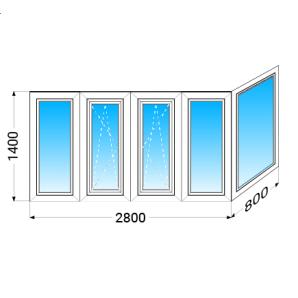Балкон г-подібний aluplast IDEAL4000 з однокамерним енергозберігаючим склопакетом 1400x2800x800 мм