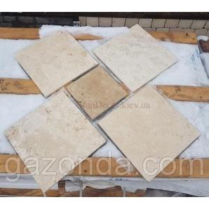 Плитка з натурального каменю травертин білий 1,2х30х30 см світло-бежева