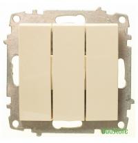 Вимикач трьохклавішні без рамки EL-BI Zena крем 609-010300-254