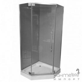 Пентагональная душова кабіна Veronis KN-8-90 профіль нержавіюча сталь прозоре скло
