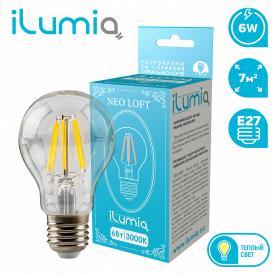 Светодиодная филаментная лампа ilumia 059 LF-6-A60-E27-WW 600Лм 6Вт 3000К