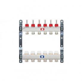 Коллектор для теплого пола Itap 1x3/4 на 6 выходов с расходомерами