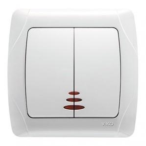 Вимикач двоклавішний внутрішній з підсвічуванням VIKO Carmen Білий