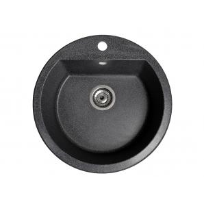 Мойка искусственный камень Solid РАУНД D510 черный гранит (с отверстием под смеситель)