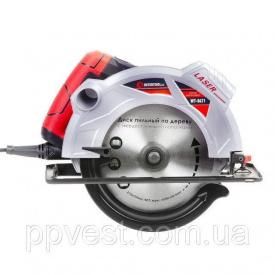 Пила дискова 1800 Вт 5000 об/хв кут 90-45 глибина розпилу 73-48 мм диск 210 мм 30 мм 40 зубів лазер INTERTOOL WT-0621