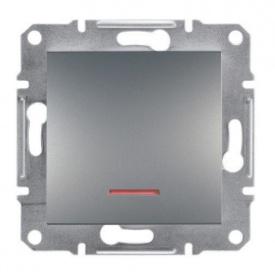 Кнопочный выключатель с подсветкой сталь Schneider electric Asfora