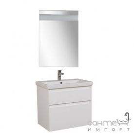 Тумба Аква Родос Еліт консольна 70 см + дзеркало Еліт 60 см + раковина Elite 70 см ОР0002764 білий