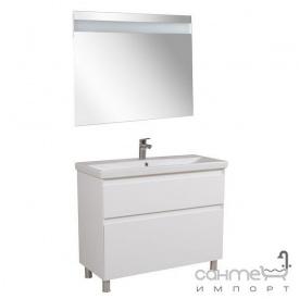 Тумба Аква Родос Еліт підлогова 100 см + дзеркало Еліт + раковина Elite ОР0002761 білий