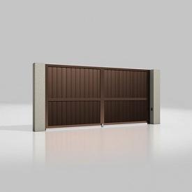 Автоматические распашные ворота Alutech Prestige с приводом Ambo сэндвич-панель S -гофр шоколад (RAL 8017)