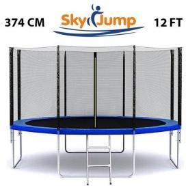 Батут SkyJump 12 FT 374 см з захисною сіткою 180 см та драбинкою