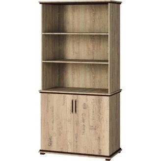 Шкаф книжный Палермо Мир мебели Дуб корабельный