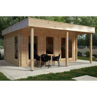Альтанка дерев'яна з профільованого бруса з закритою кімнатою 5x4,1