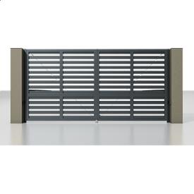 Автоматичні розсувні ворота Alutech Prestige з приводом Ambo розріджений горизонтальний профіль 82 мм сірий антрацит (RAL 7016)