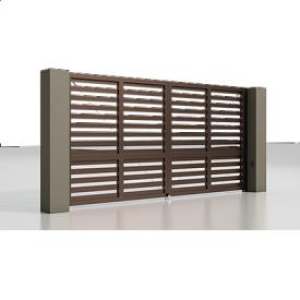 Автоматичні розсувні ворота Alutech Prestige з приводом Ambo розріджений горизонтальний профіль 82 мм шоколад (RAL 8017)