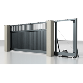 Автоматические откатные ворота Alutech Prestige с приводом Roteo сэндвич-панель S-гофр разреженный профиль серый антрацит (RAL 7016)