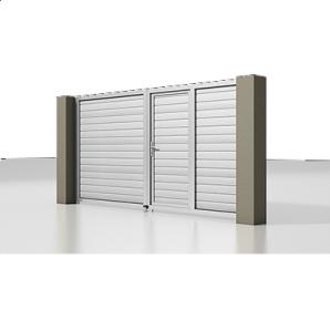 Розпашні ворота Alutech Prestige сендвіч-панель S-гофр сріблястий металік (RAL 9006) з хвірткою