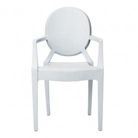 Пластиковый стул СДМ Дорис белый с подлокотниками