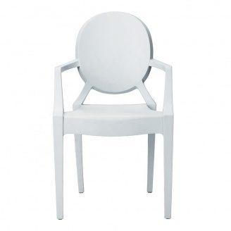 Пластиковий стілець СДМ Доріс білий з підлокітниками