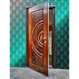 Дверь входная Дельта сталь МДФ с фигурной резьбой