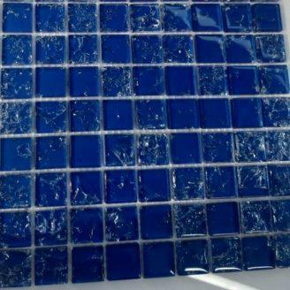 Скляна мозаїка Керамік Полісся Gretta Deep Blue колотое скло 300х300 мм