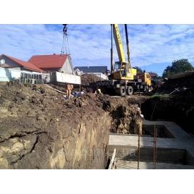 Монтирование фундаментно-стеновых блоков