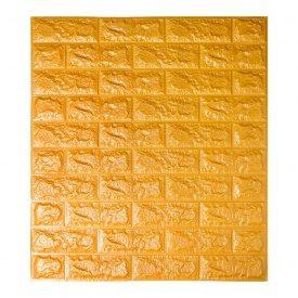 Самоклеющаяся декоративная 3D панель под кирпич золото 700x770x7 мм Os-BG11