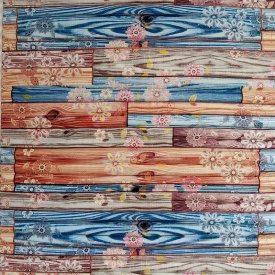 Самоклеющаяся декоративная 3D панель бамбук цветы 700x700x8 мм