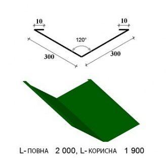 Внутрішній жолоб ендова ПЕ-300 1950/2000 мм зелений