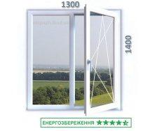 Окно из 7-камерного профиля WDS Ultra7 1300x1400 мм с двухкамерным стеклопакетом 40мм