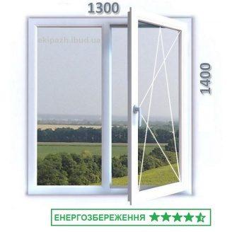 Окно из 6-камерного профиля WDS Ultra6 1300x1400 мм с однокамерным энергосберегающим стеклопакетом с аргоном