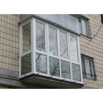 Французский балкон Г-образный 3-камерный профиль WDS Classic 3240x2230 мм