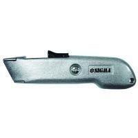 Нож строительный металлический корпус лезвие трапеция автовозврат лезвия Sigma (8212061)
