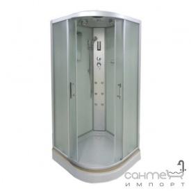 Гідромасажний бокс Atlantis AKL-100P-T (XL) профіль хром задні стінки білі двері матові