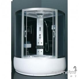 Гідромасажний бокс Atlantis AKL 1317M(XL) 130x130x215 профіль хром задні стінки білі матові двері